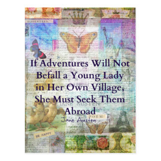 Jane Austen travel adventure quote Postcard