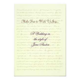 Jane Austen Wedding Celebration Quotes Card
