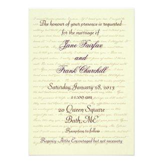 Jane Austen Wedding Celebration Quotes Personalized Invitation