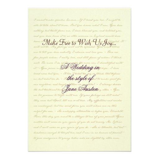 Jane Austen Wedding Celebration Quotes Custom Invitation