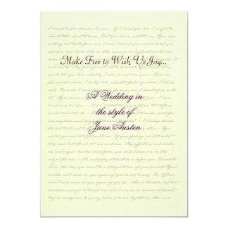 Jane Austen Wedding Celebration Quotes 5x7 Paper Invitation Card
