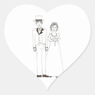 Jane Austen Wedding Heart Sticker