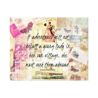 Jane Austen whimsical cute travel quote Canvas Print