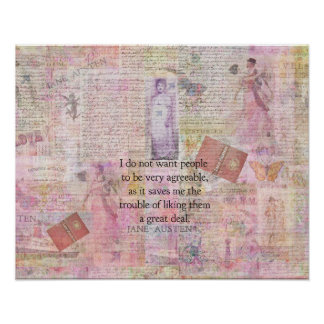 Jane Austen whimsical humor people quote Poster