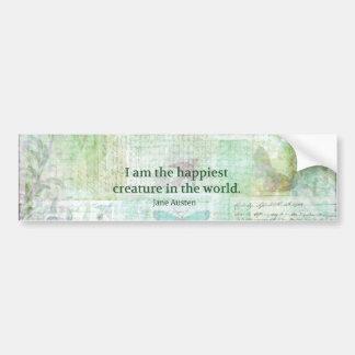 Jane Austen whimsical quote Pride and Prejudice Bumper Sticker