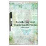 Jane Austen whimsical quote Pride and Prejudice Dry Erase Whiteboards