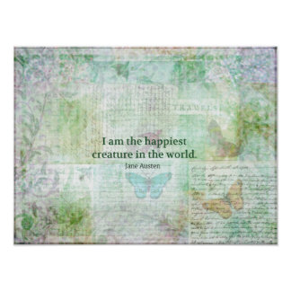 Jane Austen whimsical quote Pride and Prejudice Poster