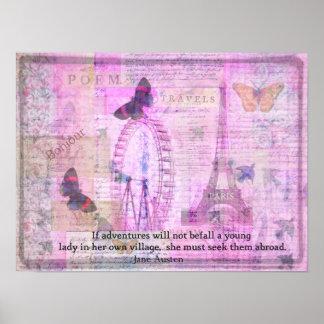 Jane Austen whimsical Travel quotation Poster