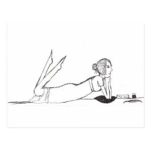 Jane Austen Writing Postcard