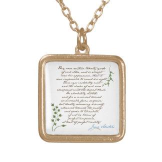 Jane Austen's Pride & Prejudice Quote #1 Square Pendant Necklace
