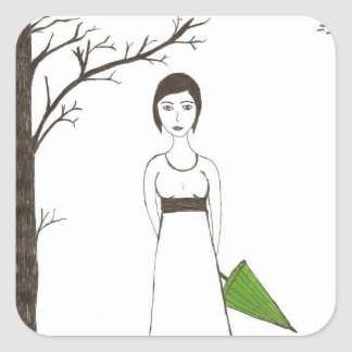 Jane Austen's rice Portrait Square Sticker