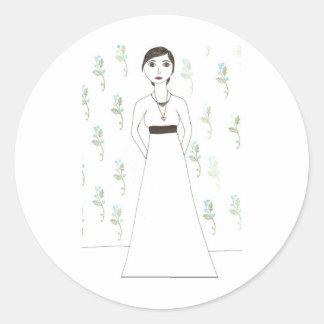 Jane Austen's  wallpaper Classic Round Sticker