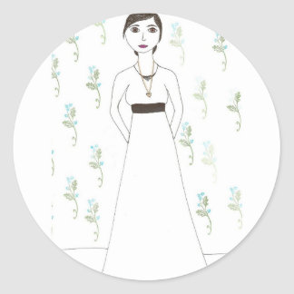 Jane Austen's  wallpaper Classic Round Sticker