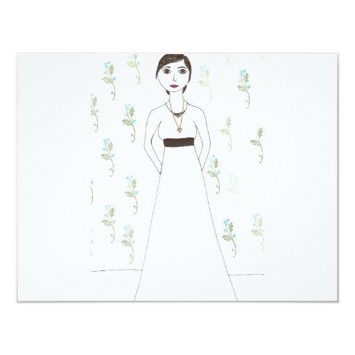 Jane Austen's  wallpaper 4.25x5.5 Paper Invitation Card