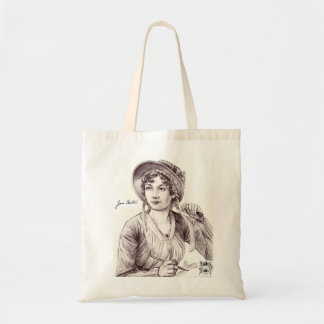 Jane Austin con un bolso de la sonrisa Bolsa Tela Barata