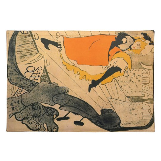 Jane Avril by Toulouse-Lautrec Cloth Placemat