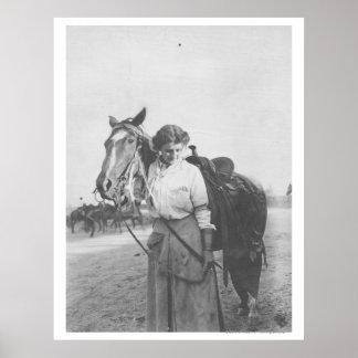 Jane Bernoudi and her horse Poster