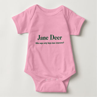 Jane Deer, Who says only boys love tractors? Baby Bodysuit
