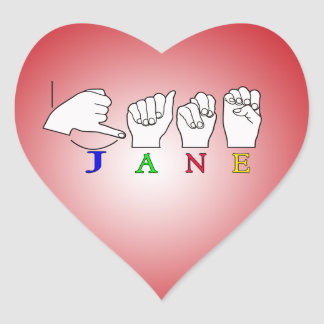 JANE FINGERSPELLED NAME ASL SIGN HEART STICKERS