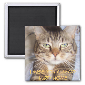 Jane says..HURRY HOME I MISS YOU A... - Customized 2 Inch Square Magnet