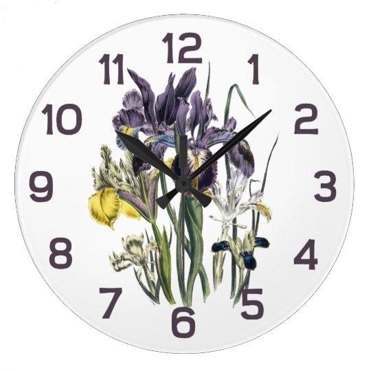 Jane Webb Loudon Iris Floral Watercolor Large Clock