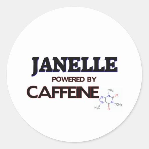 Janelle accionó por el cafeína etiqueta redonda