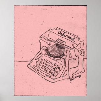 Janel's Antique Typewriter in Pink Poster