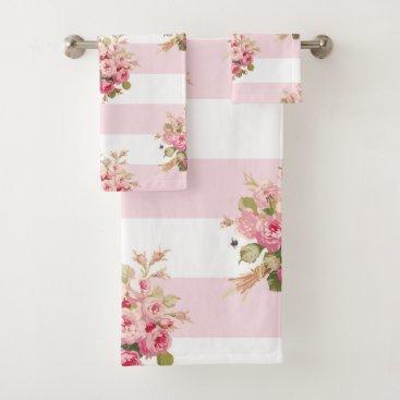 Beach Themed Jane's Rose Bouquet peony stripe bath towel set