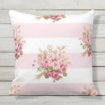 "Jane&#39;s Rose Bouquet peony stripe outdoor pillow<br><div class=""desc"">A sweet,  feminine cottage rose bouquet and bee pattern on a peony pink and white wide horizontal stripes.  backed with a simplified peony pink cottage check.</div>"