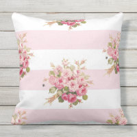 Jane's Rose Bouquet peony stripe outdoor pillow