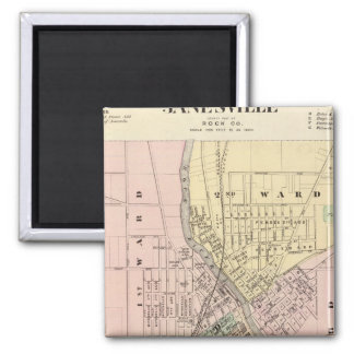 Janesville, county seat of Rock Co 2 Inch Square Magnet
