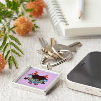 JANET  ALIEN  BUTTON  Premium Round Keychain Small
