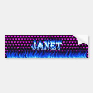 Janet blue fire and flames bumper sticker design. car bumper sticker