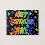 "[ Thumbnail: ""Janet"" First Name, Fun ""Happy Birthday"" Jigsaw Puzzle ]"