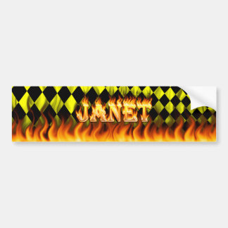 Janet real fire and flames bumper sticker design. car bumper sticker