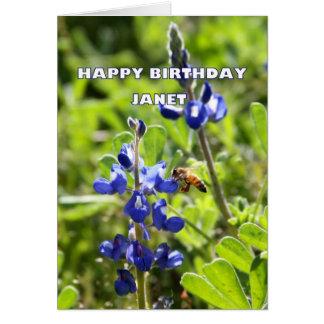 Janet Texas Bluebonnet Happy Birthday Card