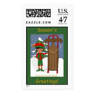 Jangles with Sled  Postage Stamp