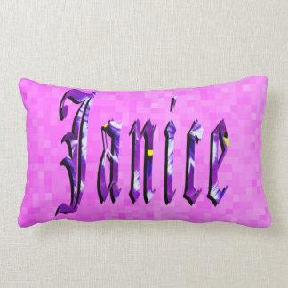 Janice Girls Name Logo, Pink Lumbar Pillow