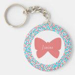 Janine Pretty Pink Butterfly Dots Keychain