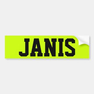 JANIS ETIQUETA DE PARACHOQUE