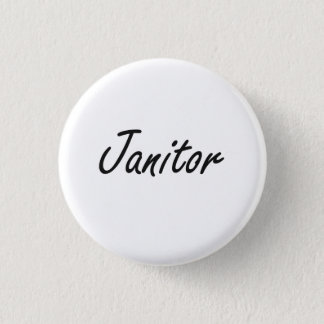 Janitor Artistic Job Design Pinback Button