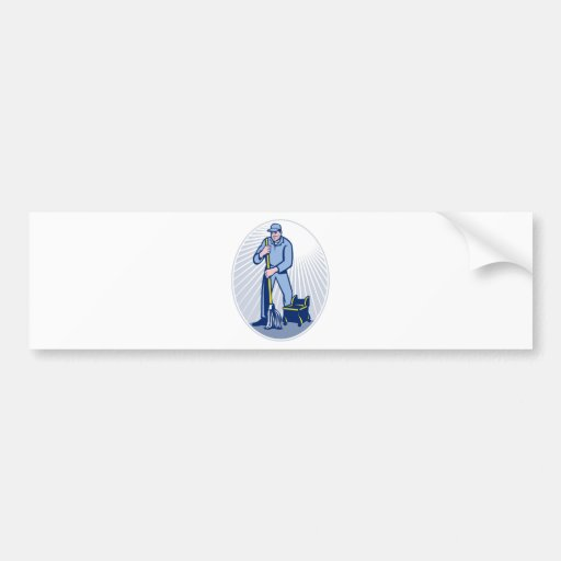Janitor Cleaner With Mop Cleaning Retro Car Bumper Sticker