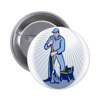 Janitor Cleaner With Mop Cleaning Retro Pinback Buttons