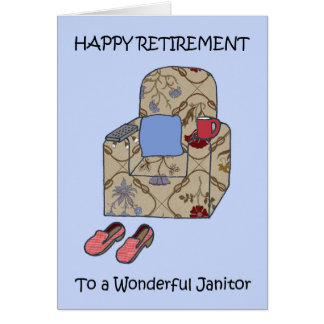 Janitor Happy  Retirement. Card