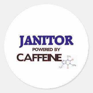 Janitor Powered by caffeine Round Stickers