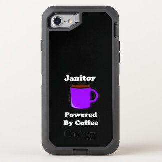 """Janitor"" Powered by Coffee OtterBox Defender iPhone 8/7 Case"