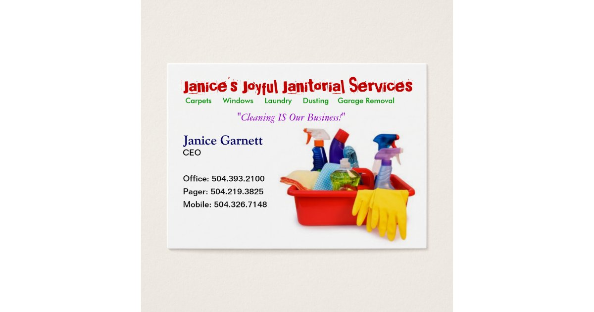 Janitorial Service Business Card | Zazzle.com