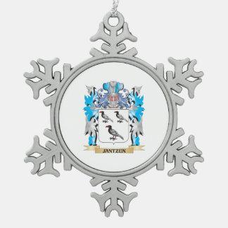 Jantzen Coat of Arms - Family Crest Snowflake Pewter Christmas Ornament