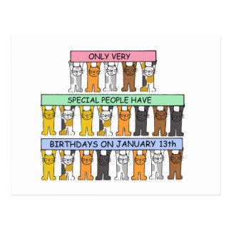 January 13th Birthdays celebrated by cats. Postcard