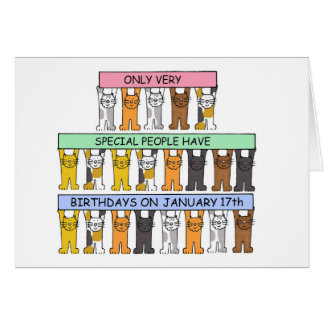 January 17th Birthdays celebrated by cats. Card
